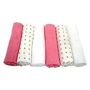 MuslinZ - Plazas de bebé muselina - Rosa Dotty (Pack de 6) por MuslinZ