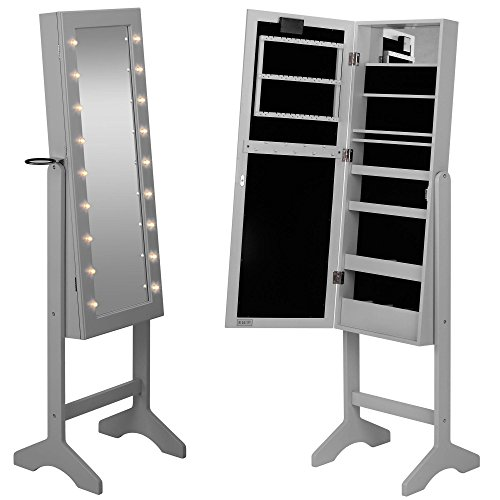 Beautify mirrored jewelry armoire with led lights floor for Floor standing mirrored bathroom cabinet