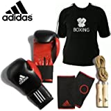 Adidas Boxing Mens Set Includes: Boxing Gloves, Skipping Rope, Inner Gloves and Boxing T-shirt