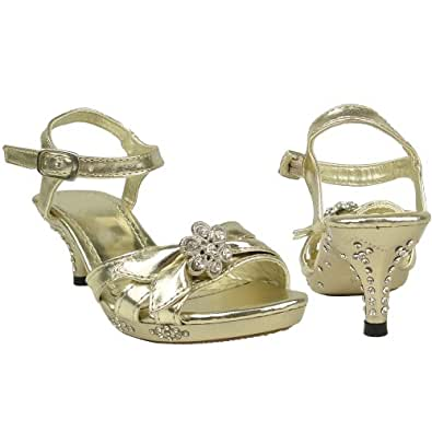 Girls Strappy Flower Rhinestones High Heel Gold Sandals Pageant youth shoes
