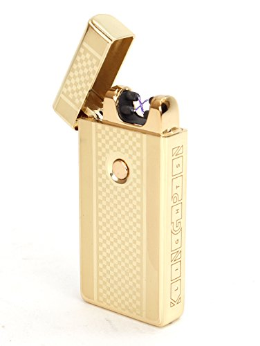 Kingpin Lights™ Gold Electric Arc Lighter - Windproof Dual Arc Plasma Lighter - USB Rechargeable Dual Pulse Electronic Lighter - Flameless Plasma Beam Lighter (E Cigarette Custom compare prices)