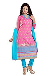 Shree Vardhman Pink Chandari Straight unstitched salwar suit