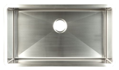 FrankeUSA UDTS32/10 Hand Fabricated Single Bowl Under Mount Kitchen Sink, Stainless Steel