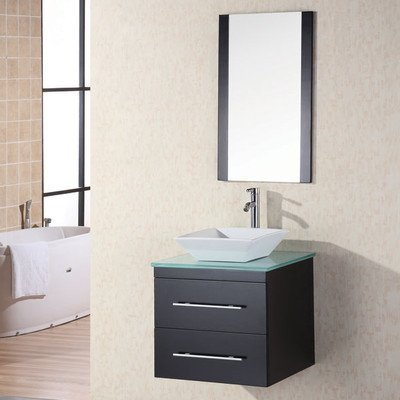 Design Element Dec071C-G Elton 24-Inch Wall-Mount Single Vessel Sink Vanity With Glass Top