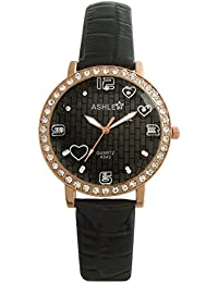 ASHLEY Black Dial Black Leather Strap Analogue Watch For Girls-Women (ASY0522)