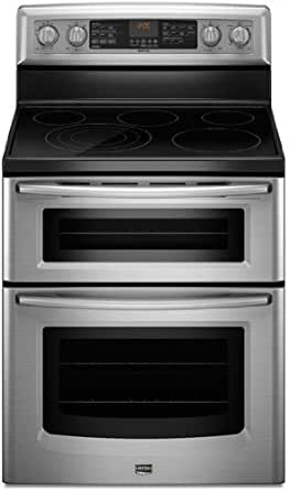 "Maytag MET8885XS Gemini 30"" Stainless Steel Electric Smoothtop Double Oven Range - Convection"
