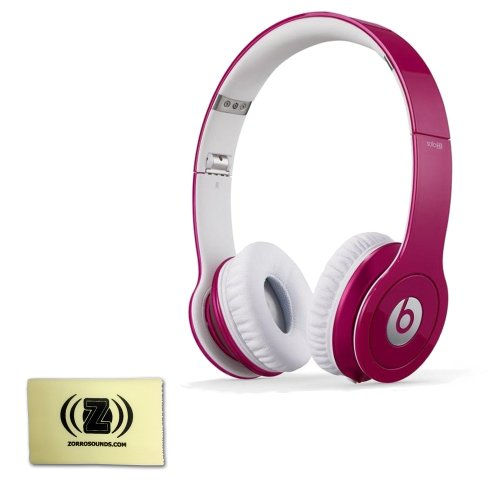 Beats By Dr. Dre Solo Hd Signature Sound High Performance Over-Ear Headphones (Pink) Bundle With Custom Designed Zorro Sounds Instrument Cloth