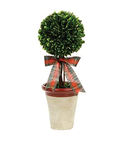 Napa Home and Garden 17 Ball Topiary with Plaid Ribbon