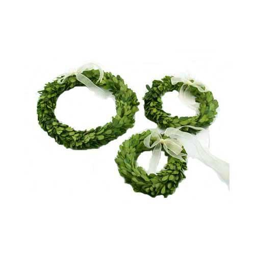 Flora Decor Preserved Boxwood Wreath Set- Round 3pc (6