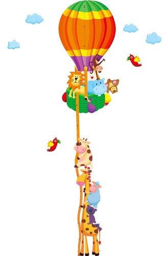 Soferrior ® Jungle Animals Travel Around The World Wall Sticker Sheep Monkey Lion Cow Giraffe Height Chart (Measurable 20Cm-170Cm) Baby Room Wall Art Decal Growth Measure Wall Mural