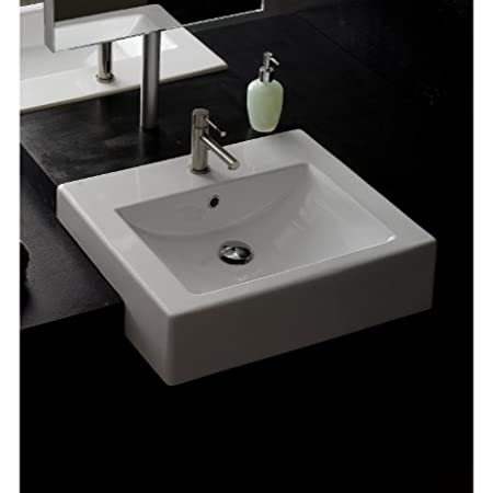 Scarabeo Scarabeo 8025/D-Three Hole-637509856212 Square Semi-Recessed Bathroom Sink, White