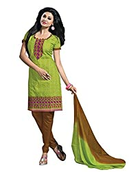 Vibes Womens Cotton Patch Work Straight Dress Material (V266-11 _Green _Free Size)
