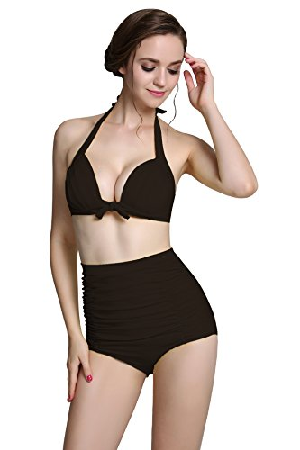 American Trends Retro 50s Vintage Halter High Waist Bikini Bathing Swimsuit Sets A-Black