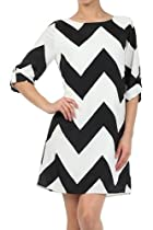 Chevron ZigZag Stripe Scoop Neck 3/4 Sleeve Shift Dress - Small - Black