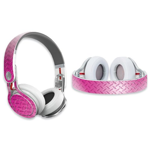 Mightyskins Protective Vinyl Skin Decal Cover For Dr. Dre Beats Mixr Headphones Sticker Skins Pink Diamond Plate