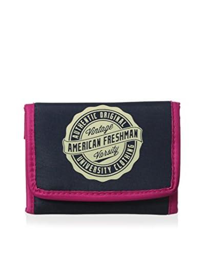 American Freshman Men's Oakland Trifold Wallet, Navy/Pink