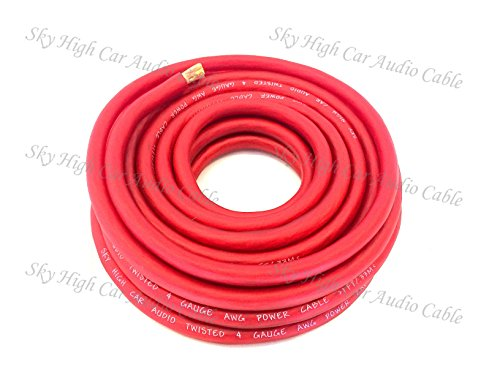5 ft CCA 4 Gauge Oversized RED Power Ground Wire Sky High Car Audio (4 Gauge Car Speaker Wire compare prices)