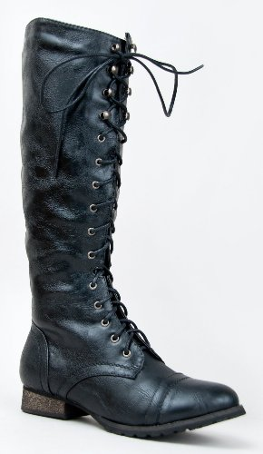 Breckelles-Outlaw-Womens-Lace-Up-Knee-High-Riding-Boots