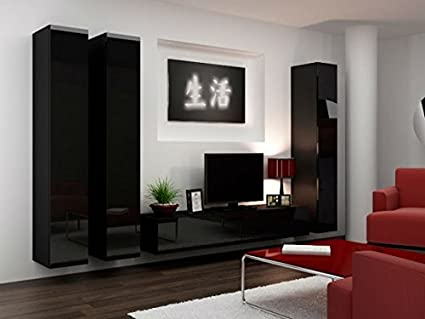 Wall Unit Vigo1 Cabinet Living Room Cabinet Glossy Black
