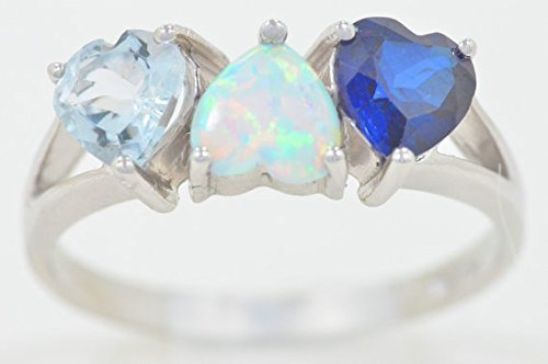 Created Blue Sapphire Simulated Opal & Genuine Aquamarine Heart Ring .925 Sterling Silver Rhodium Finish (Elizabeth Jewelry Inc Sapphire compare prices)