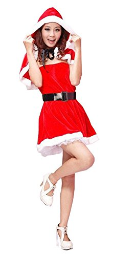 Women's Cute Miss Santa Party Fancy Dress With Cloak Belt Christmas Costume