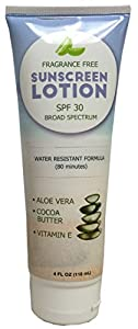 Sunscreen Broad Spectrum Protection with SPF 30 - UVA/UVB Defense - Aloe Vera Based Formula - Water Resistant for 80 Minutes - Infused with Antioxidants - Paraben Free - For Women & Men by Honeydew