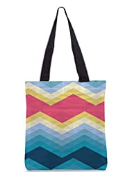 Snoogg Awesome Colour Chevron Poly Canvas Tote Bag