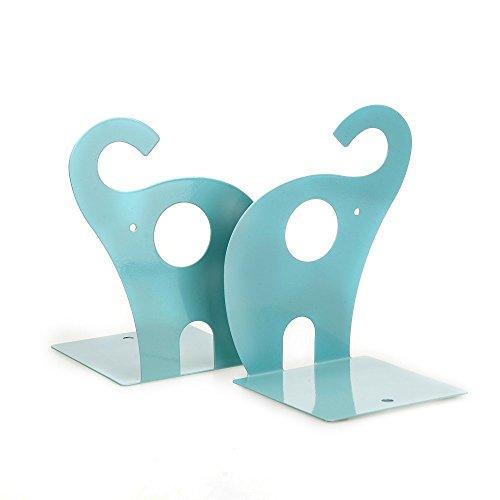 Sysrion 1pair Cute Blue Elephant Nonskid Bookends Art Bookend Home Garden Decor