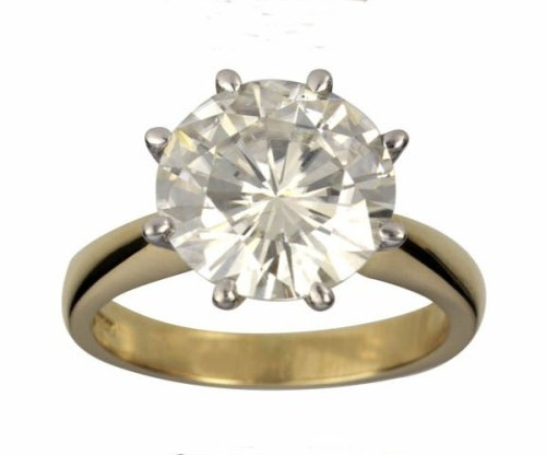 18ct Gold 10.0mm (4ct Equivelent) Moissanite Single Stone Ring - Size J