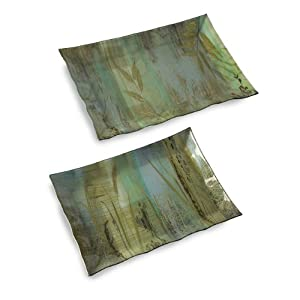 Set of 2 Botanical Oasis Green and Blue Glass Serving Tray Platters