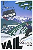 Paramount Prints VAIL Colorado USA - Vintage Travel/Skiing Poster - Poster Size : A3