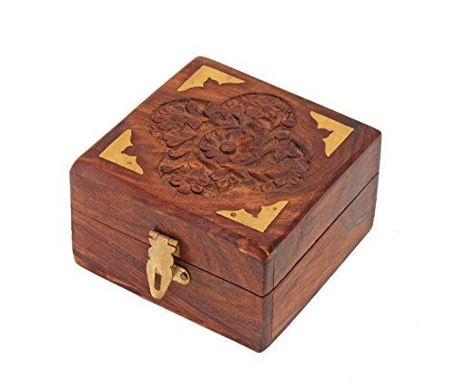 Decorative Wooden Small Jewelry Trinket Box Handcrafted Multipurpose Keepsake Storage Organizer