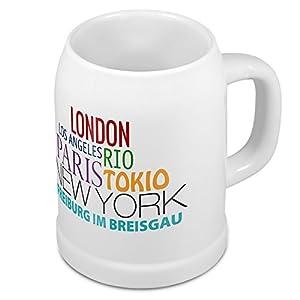 Bierkrug mit Stadtnamen Freiburg im Breisgau - Design Famous Citys in the World - Städte-Tasse, Becher, Maßkrug