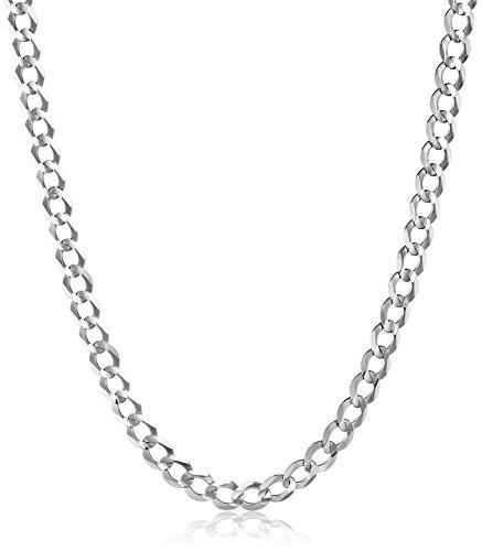 """Men'S 14K White Gold 5.7Mm Cuban Chain Necklace, 18"""""""