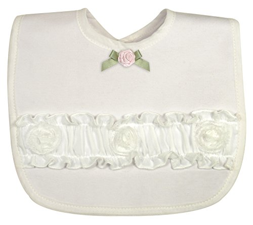 Stephan Baby Girl's Night Out Bib with Organdy Rosettes, White, 0-3 Months