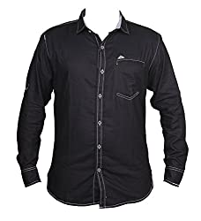 Zedx casual long sleeve Solid/plain single cuff Black shirt for Men's
