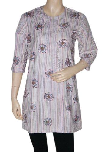 Indian Casual Wear Wear Womens Clothing Top Khadi Kurta Blouse Size L