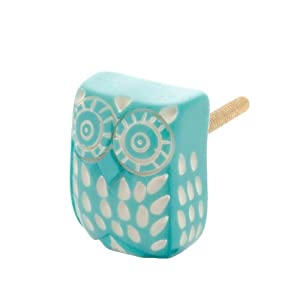 Sass and belle turquoise owl drawer knob for Turquoise door knobs
