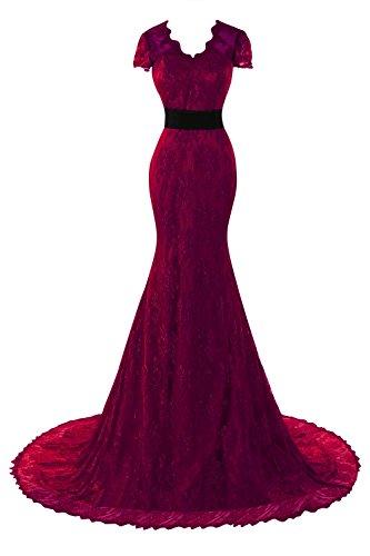 d93a9ddb784 Bess Bridal Women´s Lace Mermaid Short Sleeve Backless Prom Dresses Burgundy