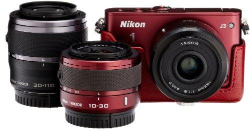 Amazon.co.jp限定Nikon1 J3 HLK+30-110㎜+18.5 mmトリプルレンズセットA レッド N1J3+30-110+18.5RDTPKA