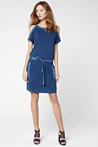 Short Sleeve Indigo Jersey Dress With Cut-Out Sleeves
