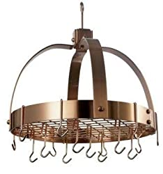 Exclusive By Old Dutch 18.5 x 21 Dome Satin Copper Pot Rack w/Grid 16 Hooks