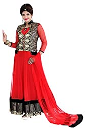 Fashion Fire Women's Red Netted Anarkali Suit with Golden Jacket Unstitched Dress Material