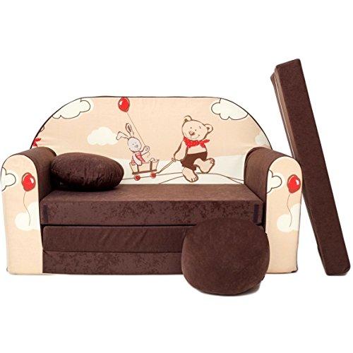 Kindersofa-Bettfunktion-3in1-Sofa-Kindersessel-Ausziehbett-Bett-K26-braun-Teddy-Hase