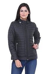 Trufit Full Sleeves Solid Women's Black High Neck Polyester Biker Jacket