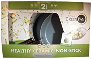 "The Original Green Pan Healthy Ceramic Non Stick Pan 2 Piece Set 10"" and 12"""