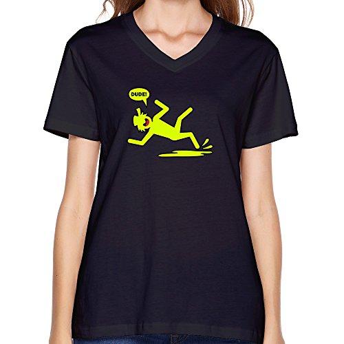 Goldfish Women'S Funny Quotes V-Neck Slipin Stickman1 T-Shirt Black Us Size Xl
