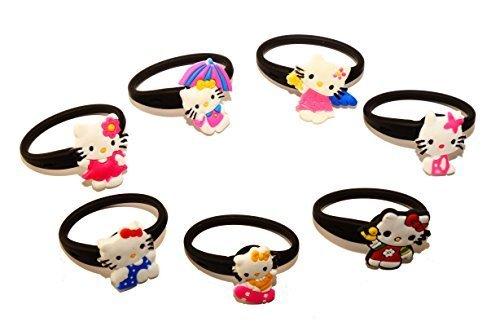 7 pezzi Hello Kitty # 4 Releasable Ponytail Staccabile Gomma Elastica Non Scivolare Capelli