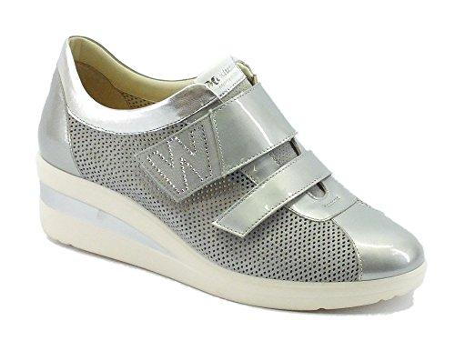 Sneakers Melluso Walk per donna in vernice e camoscio grigio (Taglia 38)