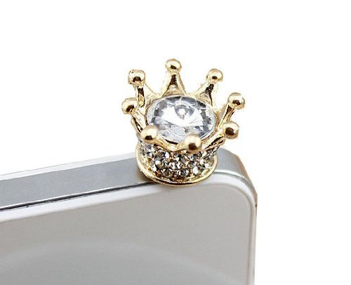 Bee&rose New Fashionable Bling Crown 3.5mm Earphone Jack Dustproof Plug Ear Dust Cap for Iphone 4, 4s ,5, 5s ,Samsungi9100,i9300,i9500,galaxy S3/4 Note N7100,htc,nokia Lumia 920,sony, Blackberry,motorola ,Lg,lenovo, Ipod Touch / Ipad and Any 3.5mm Ear Device (Crown Headphone Jack Charm compare prices)